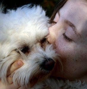 Junges Mädchen küsst kleinen weißen Hund